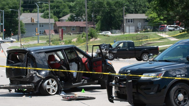 A crash early Monday near the intersection of S.E. 21st Street and S.E. Adams Street resulted in a fatality, according to police. The crash involved the car pictured here, which Topeka police identified as a stolen vehicle.