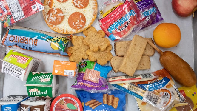 Various food items are displayed on a tray. The Missouri Department of Health and Senior Services
