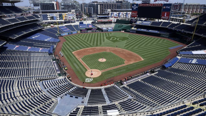 An overall view of  Nationals Park during the Washington Nationals baseball practice on Wednesday in Washington.