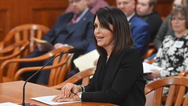 State Rep. Bronna Kahle, R-Adrian, testifies in favor of her bill to rename a section of M-50 for Michigan State Trooper Byron Erickson who died in the line of duty in 1993 at a House Ways and Means Committee hearing Feb. 18.