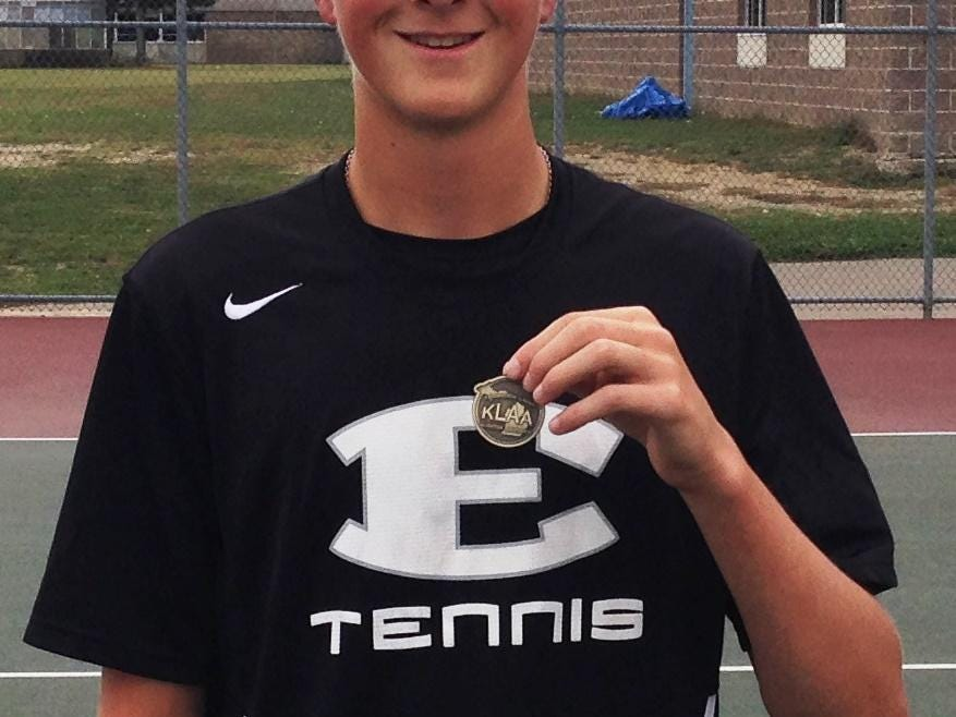 South Lyon East's Jon McCarthy was the No. 3 singles champion at the KLAA 'B' boys tennis tournament.