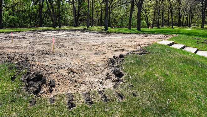 The old shelter in Watab Creek Park has been removed to make room for a new public shelter shown Tuesday, May 15, in Sartell.