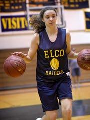 Senior Emily Bidelspach runs through drills in preparation for the 2017-18 season.