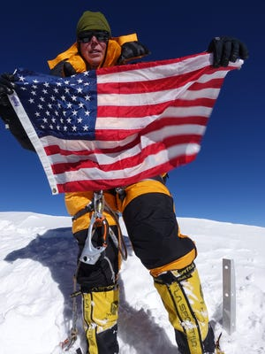 Vanessa O'Brien at the summit of K2. The Grosse Pointe native became the first American woman to reach the summit.