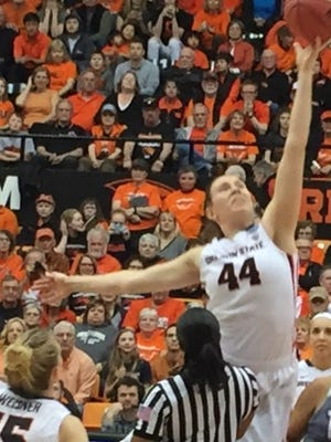 Oregon State center Ruth Hamblin had 18 points, 18 rebounds and five blocks in the Beavers' 73-31 rout of Troy in the first round of the NCAA touranment at Gill Coliseum on March 18. 2016.