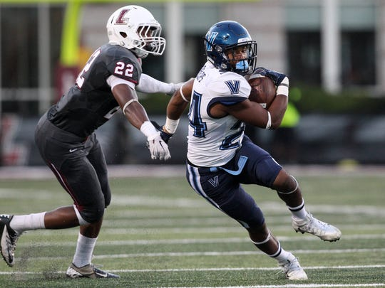 Villanova Wildcats wide receiver Taurus Phillips, a Beacon High School graduate, runs with the ball during the second quarter against the Lafayette Leopards at Fisher Field in Easton, Pennsylvania on Sept. 24. Villanova defeated Lafayette 31-14.