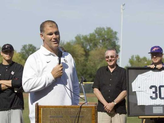 Andy Benes speaks during the 2010 retirement of his jersey at the University of Evansville.