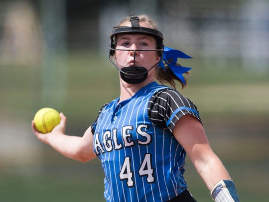Summertown's Kaley Campbell (44) throws a pitch during