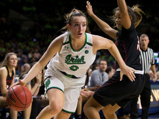FILE - In this Thursday, Feb. 22, 2018, file photo, Notre Dame's Marina Mabrey (3) moves by Virginia Tech's Kendyl Brooks (10) during the first half of an NCAA college basketball game in South Bend, Ind. Notre Dame has landed another top seed in the NCAA Tournament behind point guard Mabrey, a junior who took over the position after a series of injuries to her teammates. (AP Photo/Robert Franklin, File)
