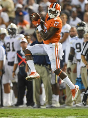 Clemson wide receiver Cornell Powell (17) catches a pass during the second quarter at Georgia Tech's Bobby Dodd Stadium on Sept. 22, 2016.