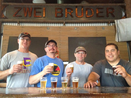 Zwei Bruder partners and brewers, from left, Drew Sheesley, Kirk Lombardi, Eric Lombardi and Joe Gutierrez. The brewery changed its name after a trademark dispute.
