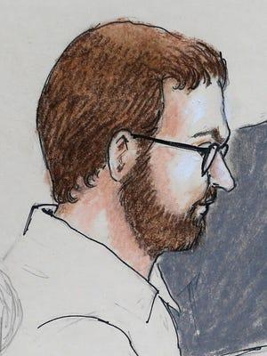 April 27, 2015, file sketch by courtroom artist Jeff Kandyba of movie theater massacre defendant James Holmes.