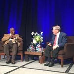 Hank Aaron (left) and Bud Selig share a laugh at the Hyatt Regency Indian Wells Resort &  Spa on Friday.