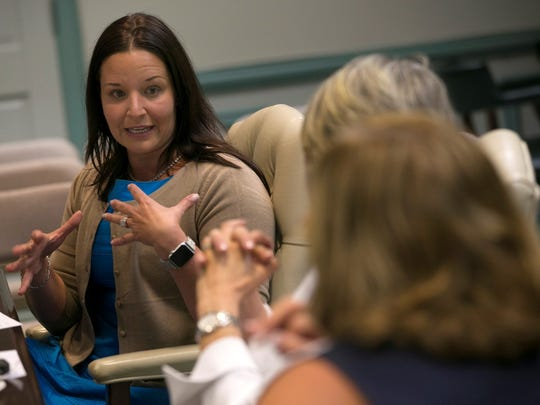 Brie Gallo, vice president of operations for Allaire Healthcare Group at a Morris County freeholder work session on June 28, 2017.