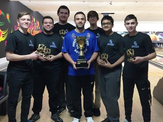 The 2017-18 North Arlington bowling team. From left: Eric McKenna, Kenny Bennett, Liam Henkel, coach Dan Farinola, Trent Petito, Rahul Patel and Brandon Barth.