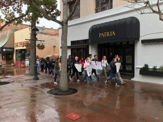 Salinas High School students walked out of class and headed toward Salinas City Hall during the national walkout to protest gun violence Wednesday.