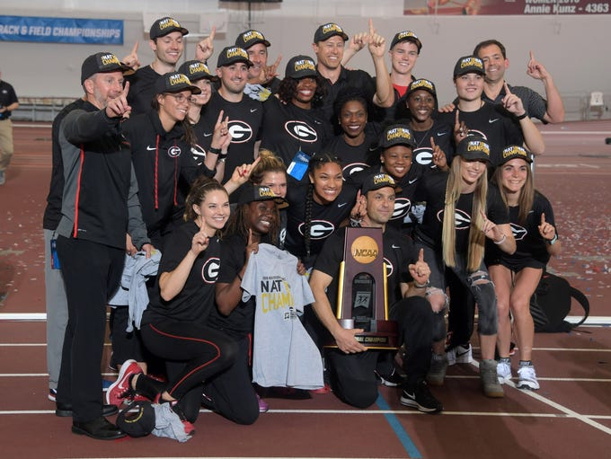 The Georgia women celebrate their NCAA indoor track