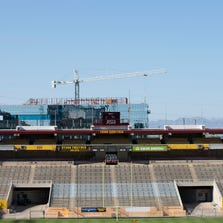 A view of Sun Devil Stadium's reconstruction project on Aug. 7, 2014, in Tempe, Arizona.