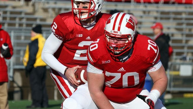 Dan Voltz (70) is out for the remainder of the season after suffering a knee injury in the Badgers' victory over Illinois.