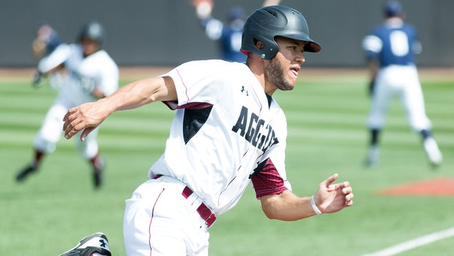 New Mexico State's Brian Kiser is one of four El Paso natives for the Aggies. Kiser and the Aggies face New Mexico Tuesday night at Southwest University Park in El Paso.