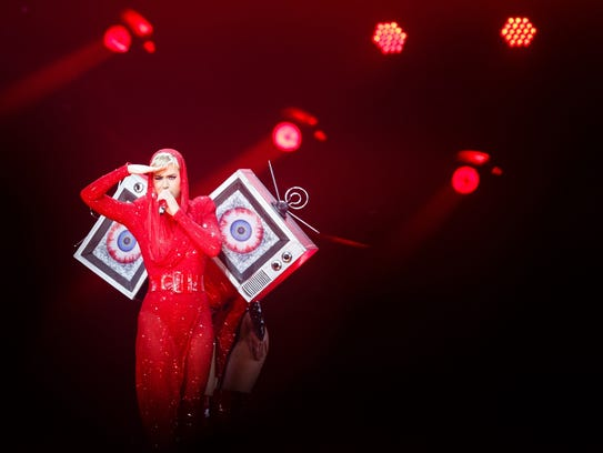 "Katy Perry performs during her ""Witness"" tour stop"