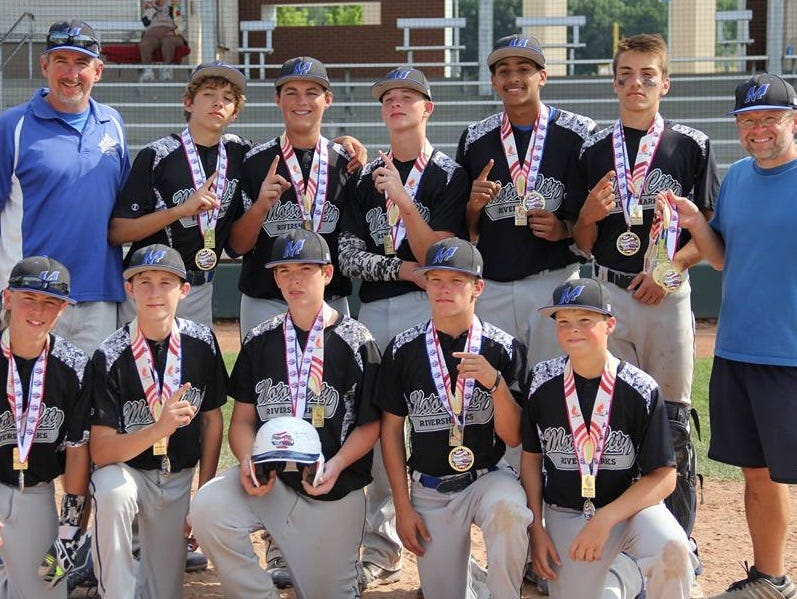 The Motor City Riversharks are pictured with their championship medals after winning the Meijer State Games of Michigan June 28 in Rockford. Pictured are (bottom row from left) Jack Savage (Salem), Robbie Laird (Canton), Joe Watson (Canton), Ben Wright (Canton), Andrew Clarke (Salem), (back row from left) head coach Bill Boyd, Brandon Boyd (Plymouth), Adam Pitcole (Salem), Jason Cantrell (Livonia Stevenson), Jeremy Armstead (Salem), Liam Radomski (Canton) and assistant coach Greg Clarke. Not pictured is Justin Kuhn (Salem).