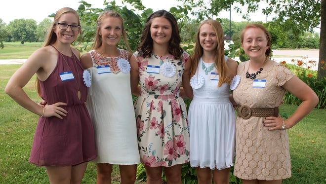 2017 Johnson County Fair queen candidates, from left, Morgan Parthemore of Oxford (daughter of John and Kimberly Martin), Makayla Lindemann of Solon (daughter of David and Brenda Lindemann), Creigh Rourke of Iowa City (daughter of Rich and Mandy Rourke), Greta Schmidt of Iowa City (daughter of Benjamin and Elsa Schmidt), and Elizabeth Uthoff of Solon (daughter of Vince and Ann Uthoff).