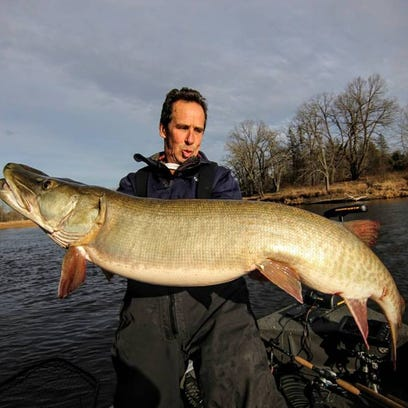 Jim Lindner with an early fall monster musky.
