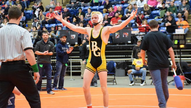 Buffalo Gap's Cullen Bendel, the All-City/County Wrestler of the Year, looks to family and friends in the stands after winning the 138-pound title at the VHSL Class 2 state tournament on Feb. 17, 2018, at Salem Civic Center in Salem, Va.