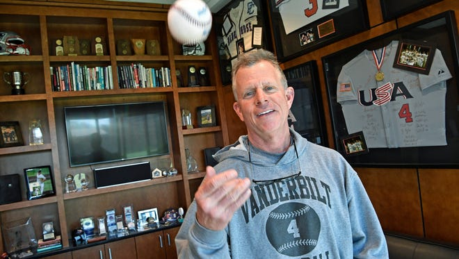 Vanderbilt baseball coach Tim Corbin will become the program's all-time winningest coach soon. What does the great coach surround himself with in his office? Answer: A lot of interesting memorabilia.Monday Feb. 26, 2018, in Nashville, Tenn