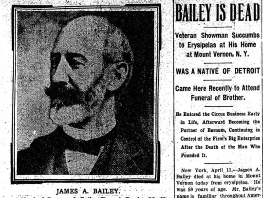 The obituary for James A. Bailey was published April