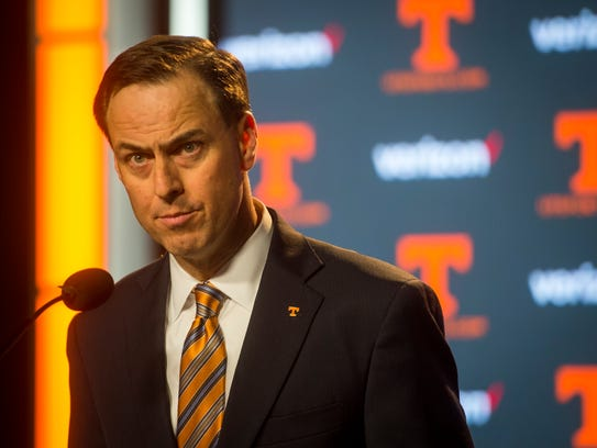 Tennessee Athletic Director John Currie speaks to the
