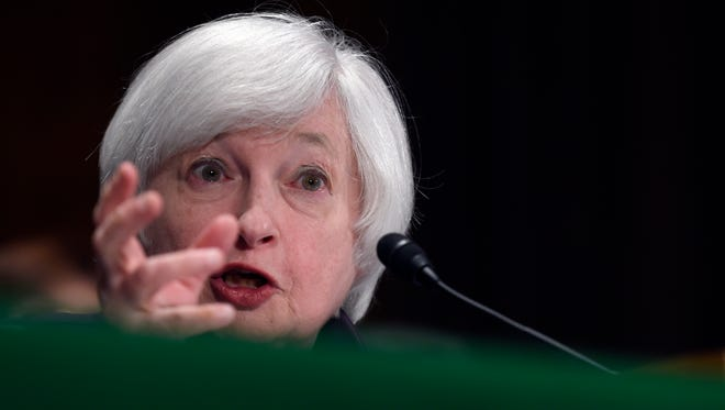 FILE - In this July 16, 2015 file photo, Federal Reserve Chair Janet Yellen testifies on Capitol Hill in Washington. The biggest news Thursday, Sept. 17, 2015 is whether the Fed will announce in a statement at 2 p.m. Eastern time that it's raising its target for the federal funds rate _ the interest that banks charge each other on overnight loans. (AP Photo/Susan Walsh, File)