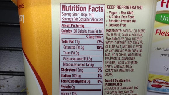 The Nutrition Facts for Earth Balance