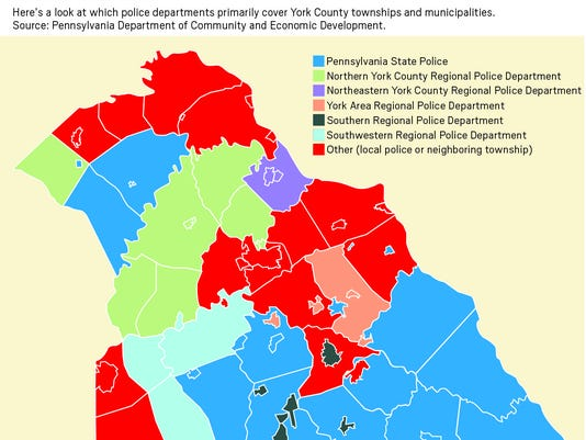 Here s a look at which police departments primarily cover York County townships and municipalities.  Source: Pennsylvania Department of Community and Economic Development.