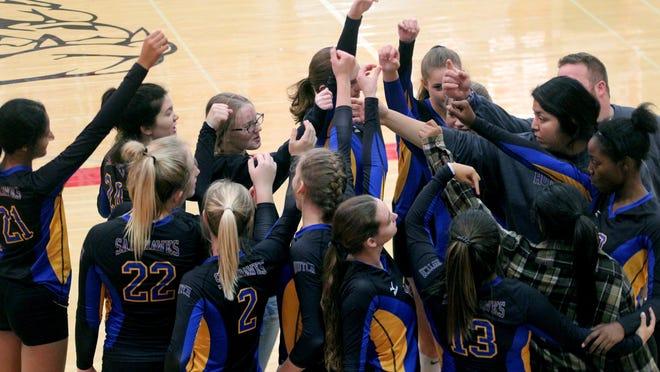 The Hutchinson High School volleyball team competes in the McPherson High School volleyball tournament Saturday, Oct 12, 2019.