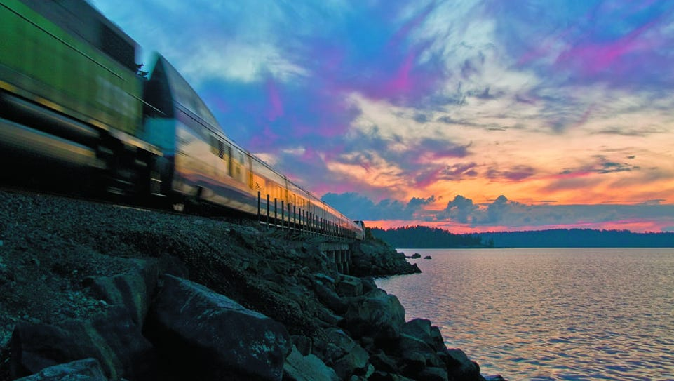 Evening rides along the Amtrak Cascades route come
