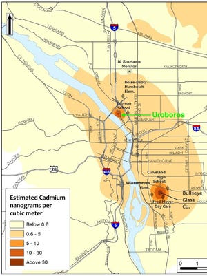 A map of two cadmium air pollution hotspots.