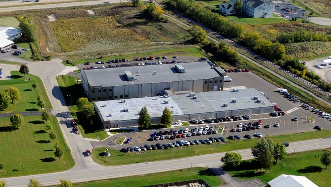 Aerial view of Wells Vehicle Electronics on West Rolling Meadows Drive.