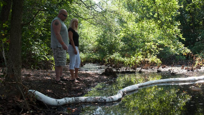 Washington Twp. residents Ron and Nancy Millar look out from their backyard onto Spring Lake where clean up efforts have started after and oil spill there. Friday, August 8, 2014.