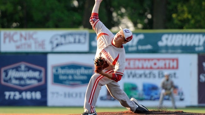 Westfall's Kyle Greiner throws a pitch in a Division III district semifinal game against Chesapeake at V.A. Memorial Stadium, Tuesday evening. The final score was Chesapeake 13, Westfall 4.