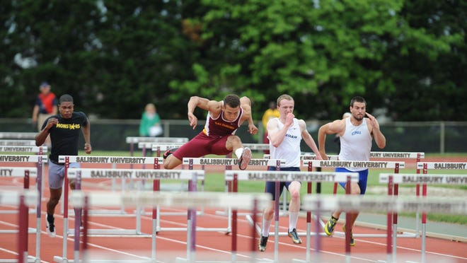 Hurdler Luke Campbell, second from left, enters the 2015 championships with the top time in the country in the 110 hurdles of 14.07 seconds.