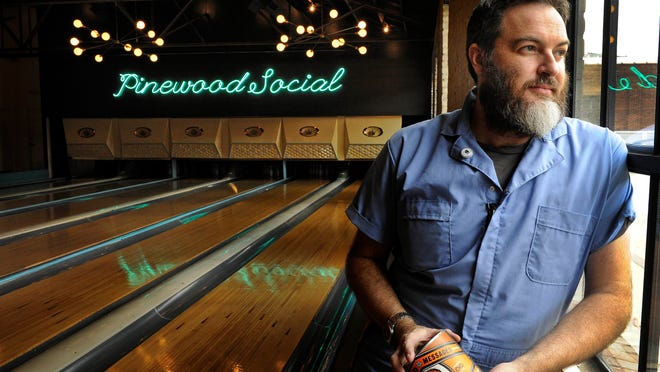 Bryce McCloud's artwork can be seen at Pinewood Social in Nashville.