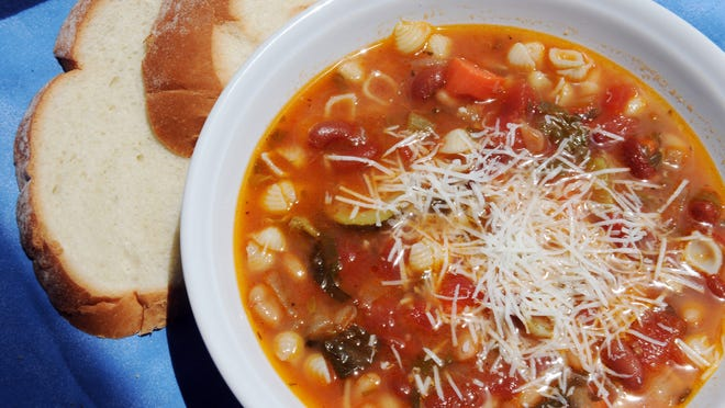 Homemade minestrone soup uses summer vegetables for the best flavor.