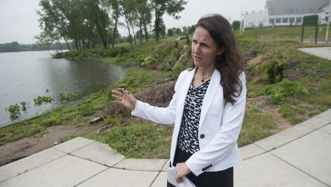 West Deptford Mayor Denise DiCarlo tours the Riverwinds complex where West Deptford wants to develop the final 60 acres of the Riverwinds complex, including a cove near the community center.