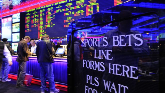 The Peppermill sports book area is shown in 2010.