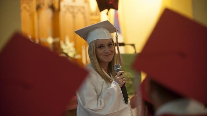 Paulsboro graduate Haley Wellington speaks to her senior class during the 2015 Baccalaureate at St. Paul's United Methodist Church in Paulsboro.