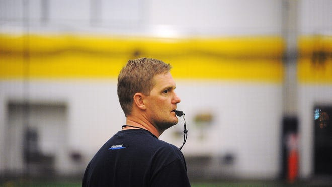 Sioux Falls Storm head coach Kurtiss Riggs looks on during practice on Tuesday, June 16, 2015, at the Sanford Fieldhouse in Sioux Falls.
