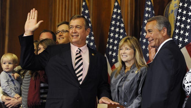 Rep. Cresent Hardy, R-Nev. is sworn in by House Speaker John Boehner during a ceremonial swearing-in performed in Washington on, Jan. 6, 2015.