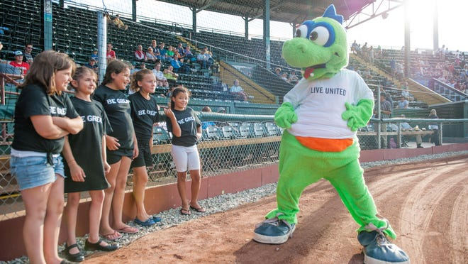 Kaydance, Paige, Makayla, Avelina and Kiki, all members of the Boys & Girls Club, were treated to a recent Lake Monsters game and got to meet and dance with Champ.